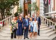 Réception Rome 2019 - H.E. Mr. Robert Fillon and his wife, with the staff of the Embassy. ©DR